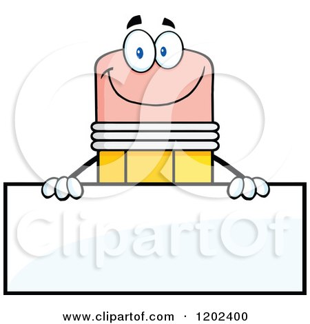 Cartoon of a Happy Pencil Mascot over a Sign Board - Royalty Free Vector Clipart by Hit Toon
