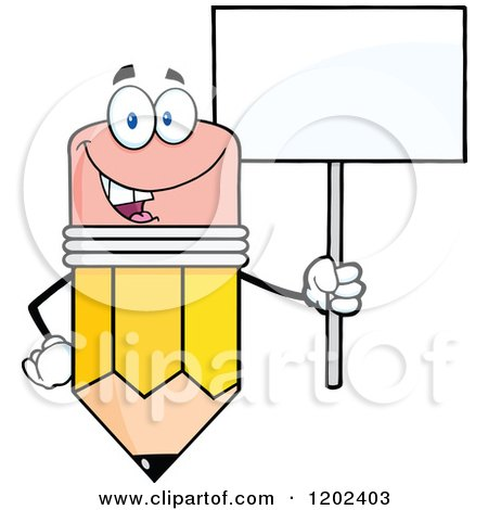 Cartoon of a Happy Pencil Mascot with a Sign - Royalty Free Vector Clipart by Hit Toon
