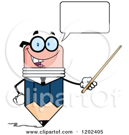 Cartoon of a Talking Business Pencil Mascot Using a Pointer Stick - Royalty Free Vector Clipart by Hit Toon