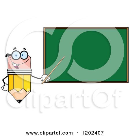 Cartoon of a Pencil Teacher Mascot Using a Pointer Stick by a Chalk Board - Royalty Free Vector Clipart by Hit Toon