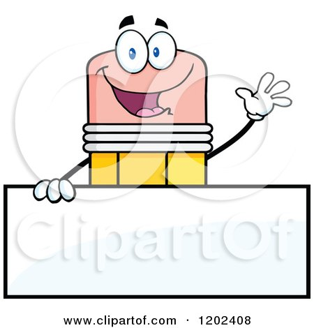 Cartoon of a Waving Pencil Mascot over a Sign - Royalty Free Vector Clipart by Hit Toon