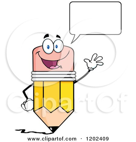 Cartoon of a Talking and Waving Pencil Mascot - Royalty Free Vector Clipart by Hit Toon