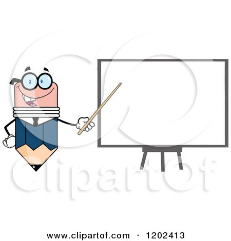 Cartoon of a Business Pencil Mascot Pointing to a White Board - Royalty Free Vector Clipart by Hit Toon
