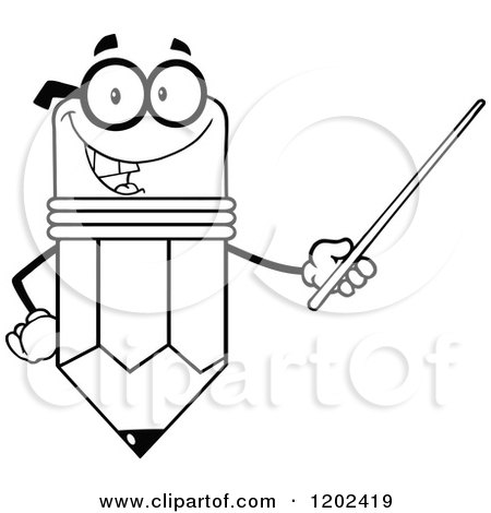 Cartoon of a Black and White Outlined Happy Pencil Mascot ...