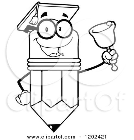 Cartoon of a Black and White Graduate Pencil Teacher Mascot Ringing a Bell - Royalty Free Vector Clipart by Hit Toon
