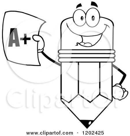 Cartoon of a Black and White Pencil Mascot Holding up a Report Card - Royalty Free Vector Clipart by Hit Toon