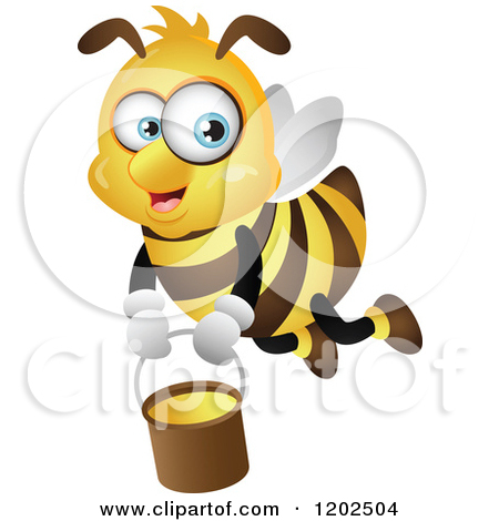 Cartoon of a Big Eyed Honey Bee Flying with a Bucket - Royalty Free Vector Clipart by Cartoon ... Smiley Face Coloring Pages