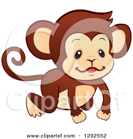 Cartoon Of A Cute Monkey Crawing On All Fours Royalty Free Vector
