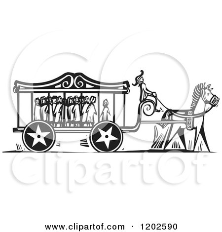 Clipart of a Carnival Carriage Full of Scared Children Black and White Woodcut - Royalty Free Vector Illustration by xunantunich