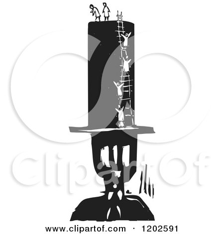 Clipart of Tiny People Climbing a Ladder on a Man's Top Hat Black and White Woodcut - Royalty Free Vector Illustration by xunantunich