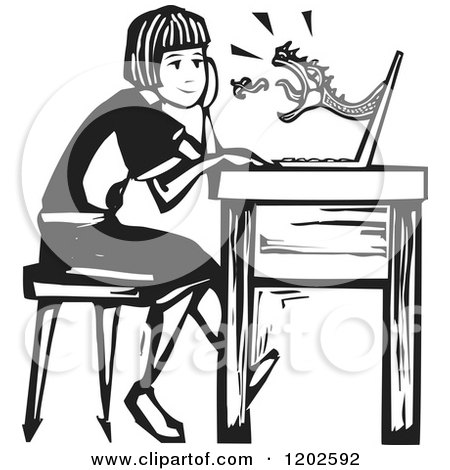 Clipart of a Dragon Shooting out at a Girl from a Laptop Screen Black and White Woodcut - Royalty Free Vector Illustration by xunantunich