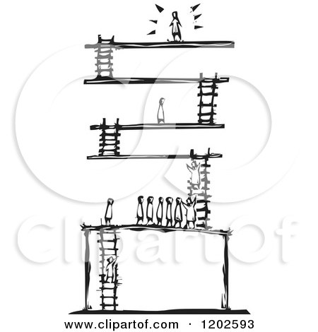 Clipart of a Winner at the Top of Levels with Ladders Black and White Woodcut - Royalty Free Vector Illustration by xunantunich