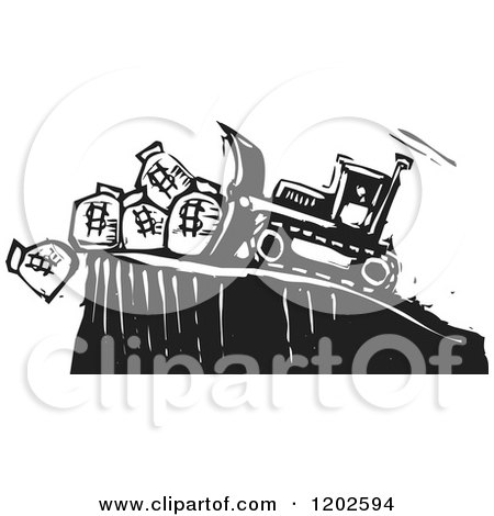 Clipart of a Bulldozer Pushing Money Bags off of a Cliff Black and White Woodcut - Royalty Free Vector Illustration by xunantunich