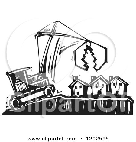Clipart of a Bulldozer and Crane over Foreclosed Houses Black and White Woodcut - Royalty Free Vector Illustration by xunantunich