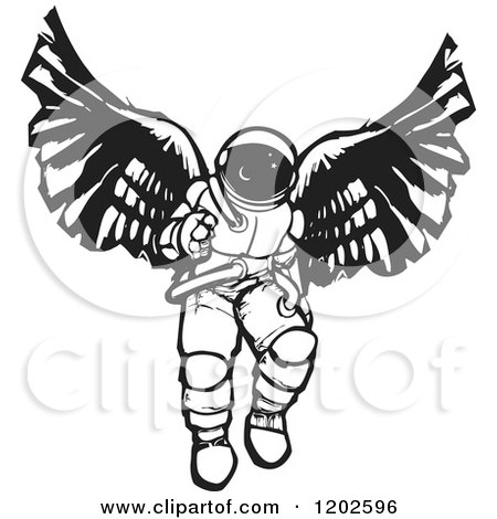 Clipart of an Angel Astronaut Black and White Woodcut - Royalty Free Vector Illustration by xunantunich