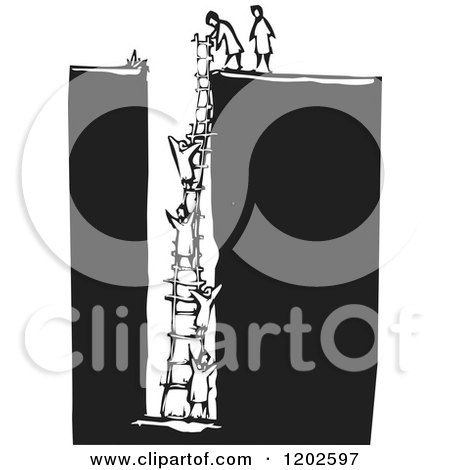 Clipart of People Climbing a Ladder from a Hole Black and White Woodcut - Royalty Free Vector Illustration by xunantunich