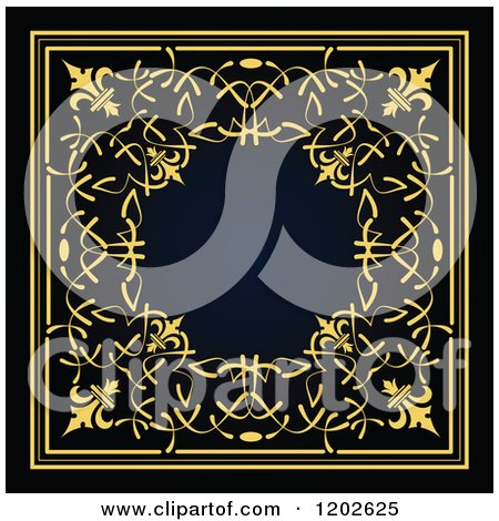 Clipart of an Ornate Gold and Black Tile Design - Royalty Free Vector Illustration by leonid