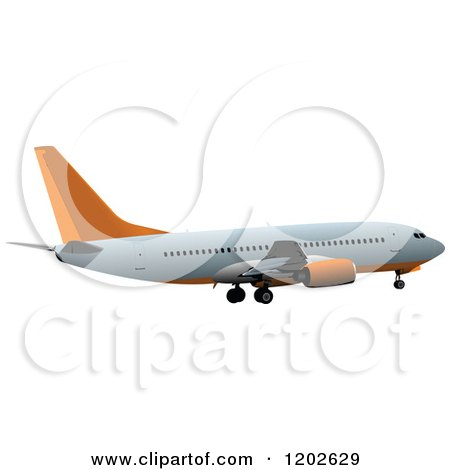 Clipart of a Commercial Airplane with Orange Accents - Royalty Free Vector Illustration by leonid