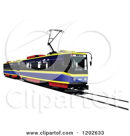 Clipart of a Tram Car on a Track - Royalty Free Vector Illustration by leonid