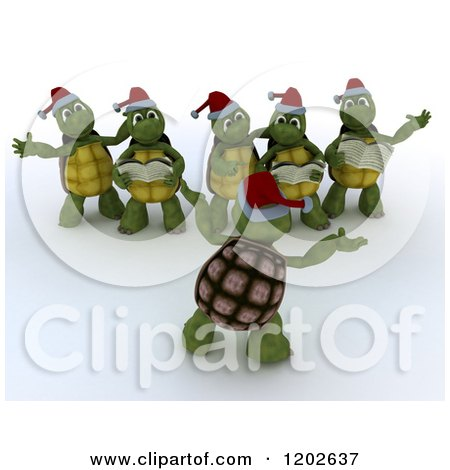 Clipart of 3d Christmas Tortoises Singing Carols - Royalty Free CGI Illustration by KJ Pargeter