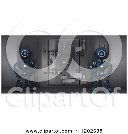 3d Blue Android Robots Guarding a Bank Safe Vault Posters, Art Prints