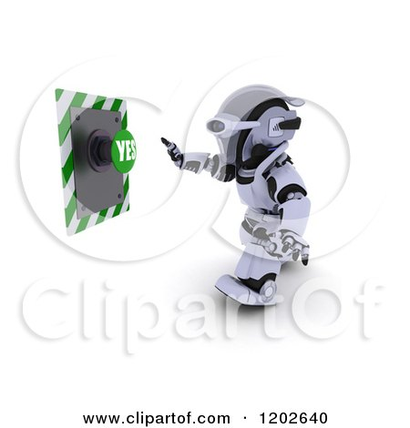 Clipart of a 3d Robot Reaching for a YES Push Button - Royalty Free CGI Illustration by KJ Pargeter