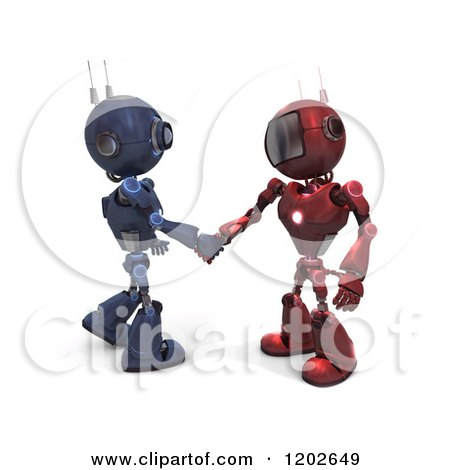 Clipart of 3d Blue and Red Android Robots Shaking Hands - Royalty Free CGI Illustration by KJ Pargeter