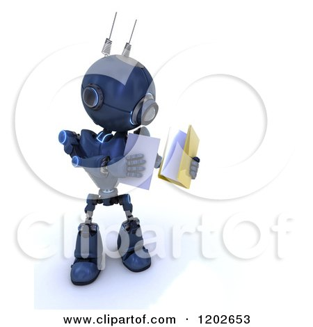 Clipart of a 3d Blue Android Robot Holding Documents - Royalty Free CGI Illustration by KJ Pargeter