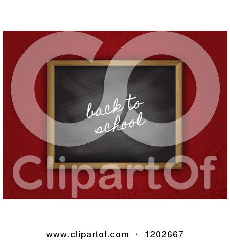 Clipart of a 3d Back to School Black Board on Grungy Red - Royalty Free Vector Illustration by KJ Pargeter