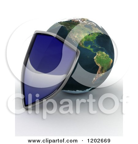 Clipart of a 3d Globe Featuring the Americas, and a Blue Security Shield, on Shaded White - Royalty Free CGI Illustration by KJ Pargeter