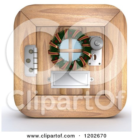Clipart of a 3d Wooden Door with a Christmas Wreath - Royalty Free CGI Illustration by KJ Pargeter