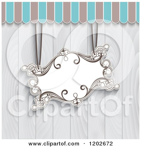 Clipart of a Suspended Vintage Sign over Gray Wooden Panels - Royalty Free Vector Illustration by KJ Pargeter