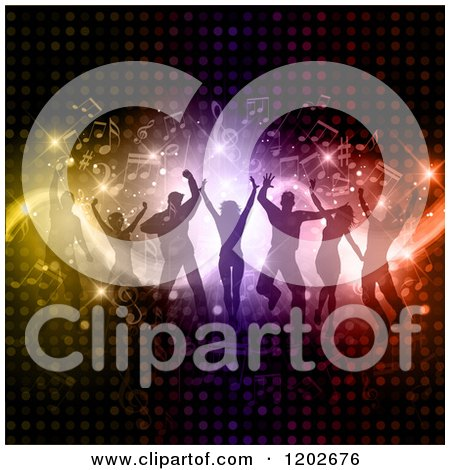 Clipart of Silhouetted Dancers over Circle Lights and Music Notes - Royalty Free Vector Illustration by KJ Pargeter