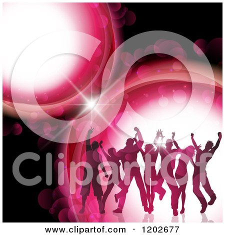Clipart of Silhouetted Dancers over Pink Flares on Black - Royalty Free Vector Illustration by KJ Pargeter