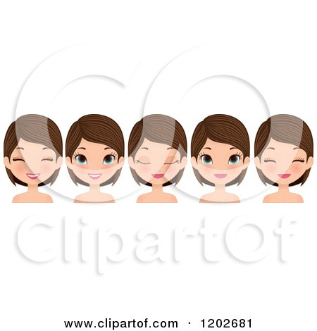 Clipart of a Young Brunette Woman with Blue Eyes, Showing Different Facial Expressions - Royalty Free Vector Illustration by Melisende Vector