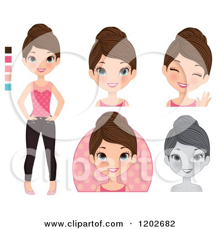 Clipart of a Young Brunette Woman with Blue Eyes, in Different Poses - Royalty Free Vector Illustration by Melisende Vector