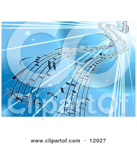 Background of Sheet Music Over Blue Clipart Illustration by AtStockIllustration