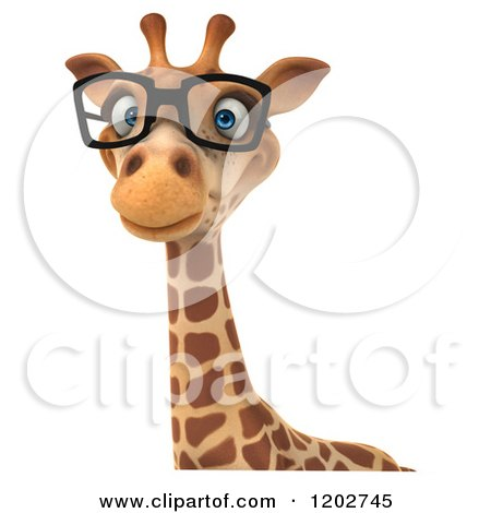 Clipart of a 3d Happy Giraffe Wearing Glasses over a Sign - Royalty Free CGI Illustration by Julos