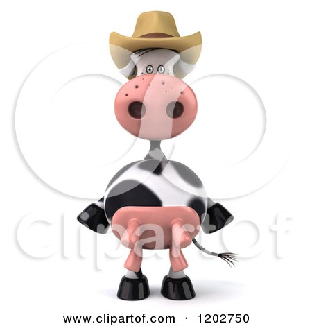 Clipart of a 3d Cow Mascot Wearing a Cowboy Hat - Royalty Free CGI Illustration by Julos
