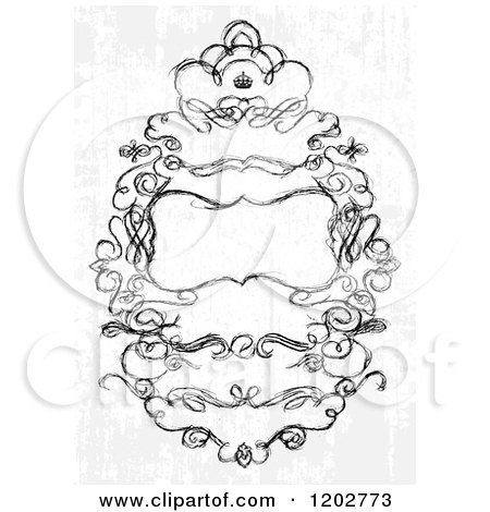 Clipart of a Distressed Wedding Invitation with Text Space a Crown and Sketched Swirls - Royalty Free Vector Illustration by BestVector