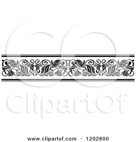 Clipart Of A Vintage Black And White Ornate Floral Border Design 2