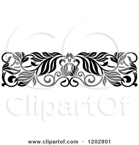 Clipart Of A Vintage Black And White Ornate Floral Border Design 3