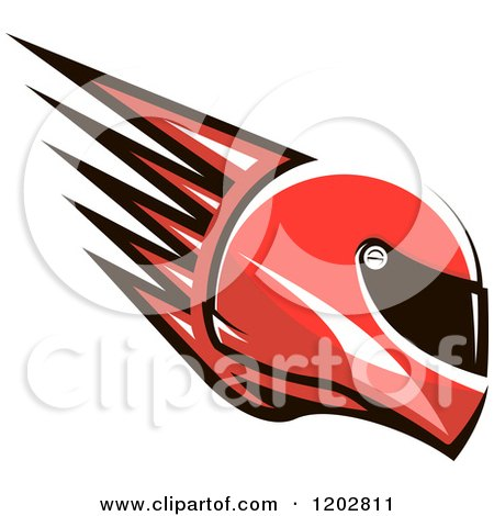 Clipart of a Red Racing Helmet with Spikes - Royalty Free Vector Illustration by Vector Tradition SM