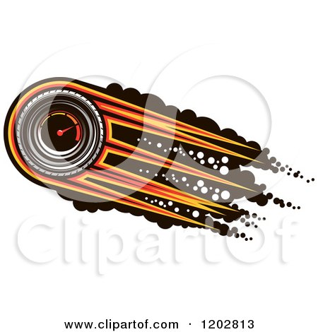 Clipart of a Race Car Speedometer with Speed Lines over Black Dots - Royalty Free Vector Illustration by Vector Tradition SM
