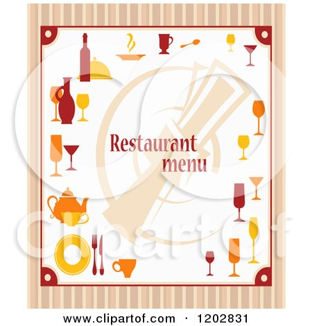 Clipart of a Restaurant Menu with Dishes over Stripes - Royalty Free Vector Illustration by Vector Tradition SM