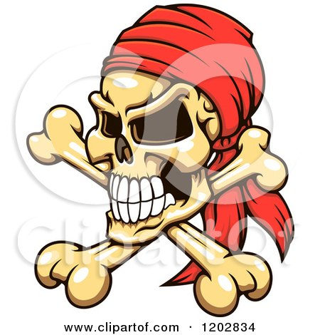 Clipart of a Pirate Skull and Crossbones with a Red Bandana - Royalty Free Vector Illustration by Vector Tradition SM