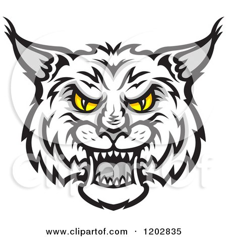 Clipart of a hissing grayscale bobcat face with yellow for Free clipart no copyright