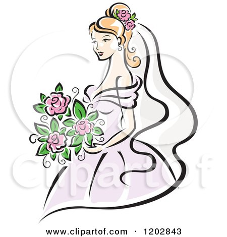 Clipart of a Beautiful Blond Bride in a Pastel Pink Dress, Holding Her Flower Bouquet - Royalty Free Vector Illustration by Vector Tradition SM
