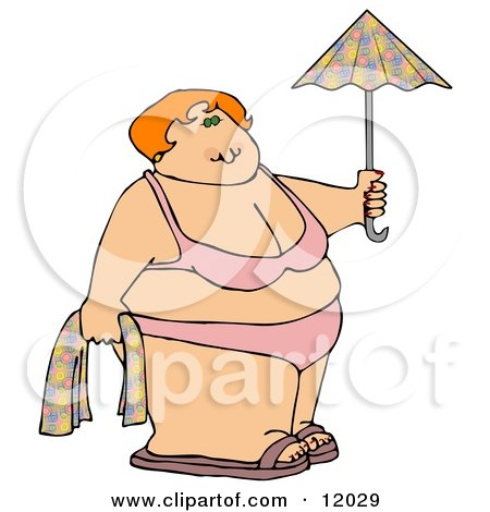 Fat Woman in a Bikini on the Beach, Holding a Towel and Umbrella Cartoon Clipart by djart