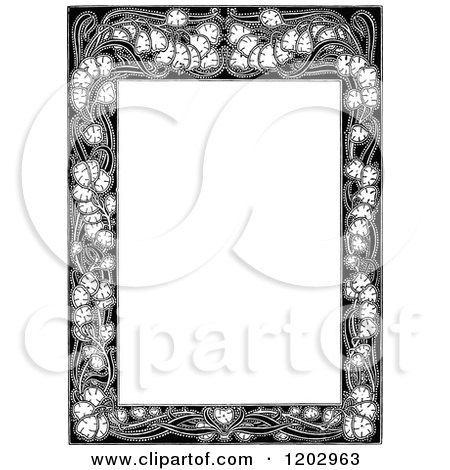 Clipart of a Vintage Black and White Floral Page Border 2 - Royalty Free Vector Illustration by Prawny Vintage
